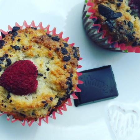 Fitt kókuszos-csokis-málnás muffin