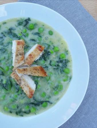 Fitt tejmentes spenótos zöldborsó főzelék