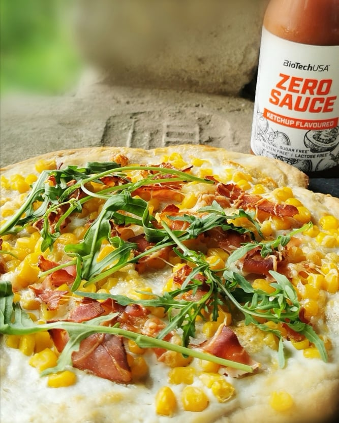 Fitt kukoricás - sonkás pizza